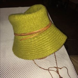 Accessories - Handknit and felted hat with leather trim